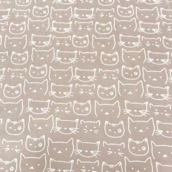 Flanell Katzen beige